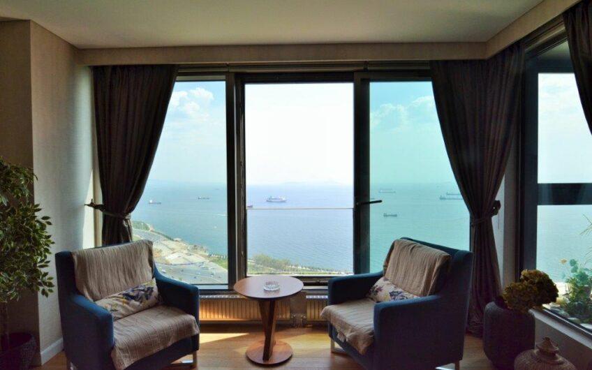 واحد فروشی اماده تحویل۳+۱ منظره دریا ویو عالی مجتمع۱۶۹استانبول